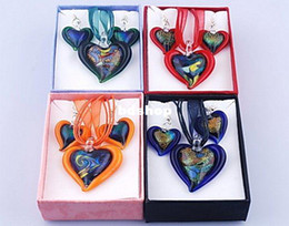 Wholesale Lampwork Dichroic - 4 Sets Dichroic Foil Heart Lampwork Glass Necklace & Earrings Jewelry Set with Box