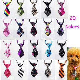 Tie Necktie Bow Dogs Canada - Wholesale - New Free Shipping 50pcs Lot Mix Color Polyester Silk Pet Dog Necktie Adjustable Handsome Bow Tie Pet Collar Cute Gift