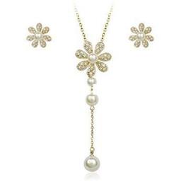 Wholesale Italina Pearls Necklace - Italina Rigant 18K Gold Plated Imitation Pearl Jewelry Set