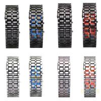 led kırmızı mavi saat toptan satış-Özel Fiyat LED Izle Moda Lava Tarzı Demir Faceless Kırmızı Mavi Dijital İzle Bilezik İkili LED Bilek Saatler Adam Kadınlar için Altın