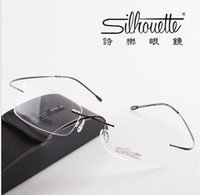 Wholesale titanium optical glasses frame - Retail 1 piece Brand Silhouette rimless optical glasses frames  ultra-light titanium rimless eyeglasses frame myopia frame go with the case