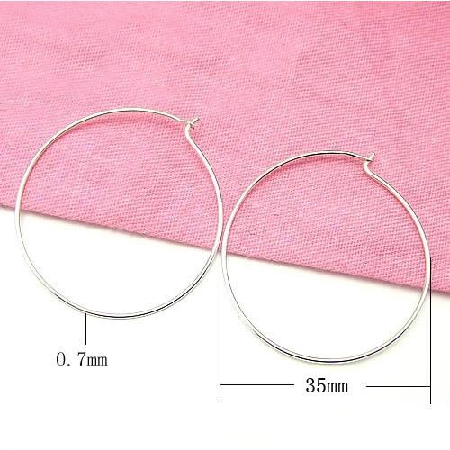 Free Shipping 10pairs/lot 925 Sterling Silver Hoop Earrings For DIY Craft Jewelry 0.7x35mm WP126