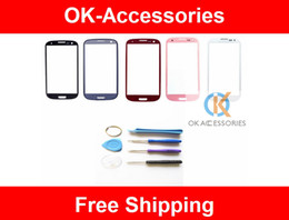 Wholesale Replace Lens - Blue,Black,Red ,White Pink Color Original Outer Screen Lens Glass Touch Screen Replace For Samsung I9300 i9305 i535 1pc lot Free Shipping