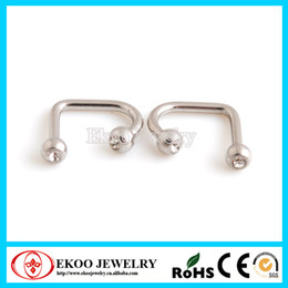 Lip Piercing Wholesale NZ - 316L Surgical Steel Double Gem Lippy Loop Labret Free Lip Rings Free Shipping