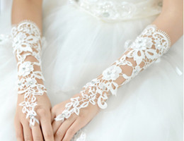 Wholesale Diamond White Gloves - 1pair Hot white Bridal Gloves Diamond Bud silk embroidery Wedding jewelry Pure white fingerless gloves