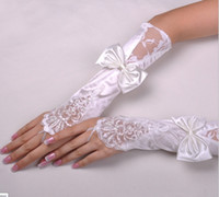 Wholesale Typing Fingerless Gloves - Type-4 1pair Hot white Bridal Gloves Bow Diamond Bud silk embroidery Wedding jewelry Pure white fingerless gloves