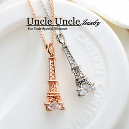 Wholesale Eiffel Tower Ladies Necklace - The Eiffel Tower of Paris Design!!!White Gold Plated Zirconia Champs Elysees Kiss Lady Pendant Necklace Wholesale