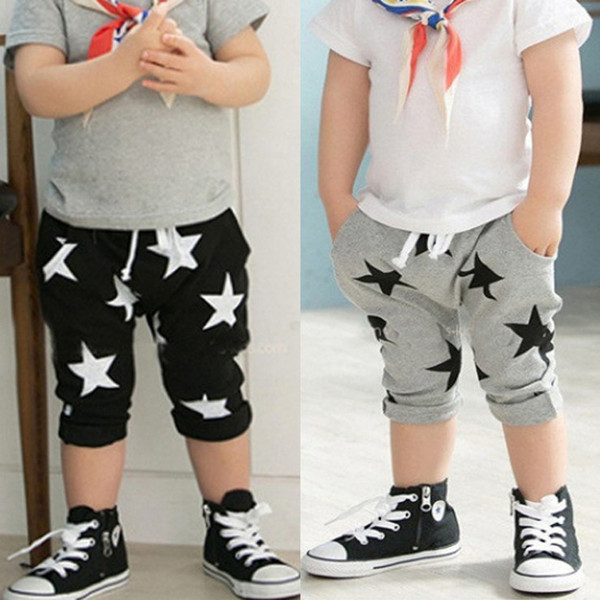 Wholesale -Summer children casual pants Baby Children Shorts Boys Star Printed Shorts Harem Pants Kids Clothing 5p/l