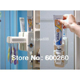 Wholesale New Automatic Toothpaste - New Automatic Toothpaste Dispenser Toothbrush Holder sets,toothbrush Family sets White\ rose red free shipping #8500