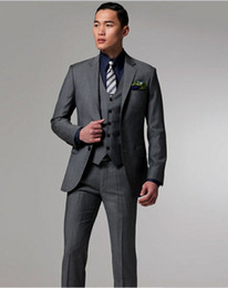 Wholesale Men Red Notch Lapel Vest - High quality Two Buttons Dark gray Groom Tuxedos Notch Lapel Best Man Suits Groomsmen Men Wedding Suits (Jacket+Pants+Vest+Tie) NO:712