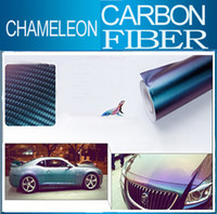 Wholesale Carbon Fiber Air Drain - 152 X 60cm chameleon 3D Carbon Fiber Water Transfer Printing Film 3d chameleon carbon fiber sticker with Air Drains