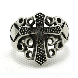 Wholesale Style Steel - Wholesale Price Mens Boys 316L Stainless Steel Cool Punk Gothic Cross New Style Ring