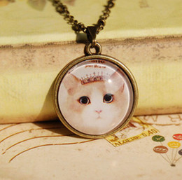 Wholesale Cameo Jewelry Wholesale - New 2014 Fashion Tiara Cat Necklace Cameo Glass Necklace for Best Friends Vintage Jewelry Gifts xl094