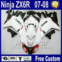 ingrosso plastica ninja bianca di kawasaki-Kit carene per Kawasaki ZX-6R 2007 2008 Ninja plastica ZX6R 07 08 636 ZX 6R zx636 kit carene parti moto nero bianco za24