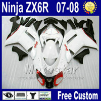 plásticos de ninja kawasaki brancos venda por atacado-Kit de carenagens para Kawasaki ZX-6R 2007 2008 Ninja plástico ZX6R 07 08 636 ZX 6R zx636 branco preto motobike peças carenagem kits za24