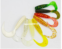 Wholesale Soft Bait Worms - Soft Lures for Fishing Soft Bait Soft Plastic Worm Bait Soft Grub Fishing Lures 5cm 1.1g Mix Colors 200pcs lot Wholesale