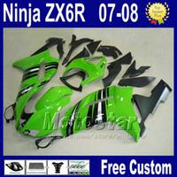 Wholesale Motorcycle Race Fairing Kits - 7 Gifts plastic fairings kit for Kawasaki racing ZX-6R 2007 2008 motorcycle Ninja ZX6R 07 08 636 ZX 6R zx636 green black fairing kits za29