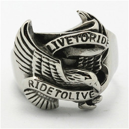 Wholesale Stainless Steel Eagle Rings - Wholesale Price Mens Boys 316L Stainless Steel Cool Silver Ride to Live Eagle Biker Classic Ring