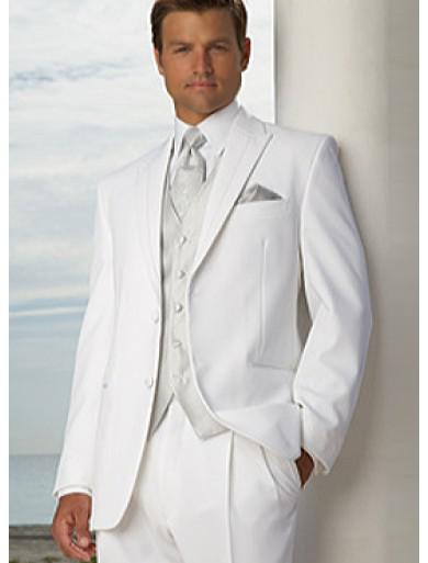 Two Buttons White Groom Tuxedos Peak Lapel Best Man Suits Groomsmen Men Wedding Suits (Jacket+Pants+Vest+Tie) NO:722