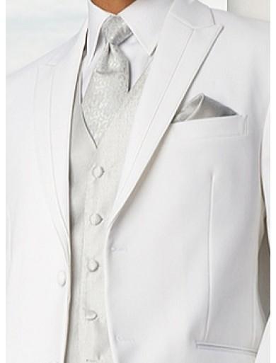 Dois Botões Branco Noivo Smoking Pico Lapela Melhor Homem Ternos Padrinhos de Casamento Dos Homens Ternos Jacket + Pants + colete + Gravata NO: 722