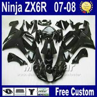 ingrosso plastica ninja zx6r-Kit carenatura popolare per ZX-6R 07 08 Kawasaki Ninja zx636 ZX 6R 636 carenature in plastica nera lucida set ZX6R 2007 2008 Yr66