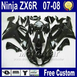 China Popular Fairing kit for ZX-6R 07 08 Kawasaki Ninja zx636 ZX 6R 636 all glossy black plastic fairings set ZX6R 2007 2008 Yr66 cheap kawasaki ninja zx6r fairing kits suppliers