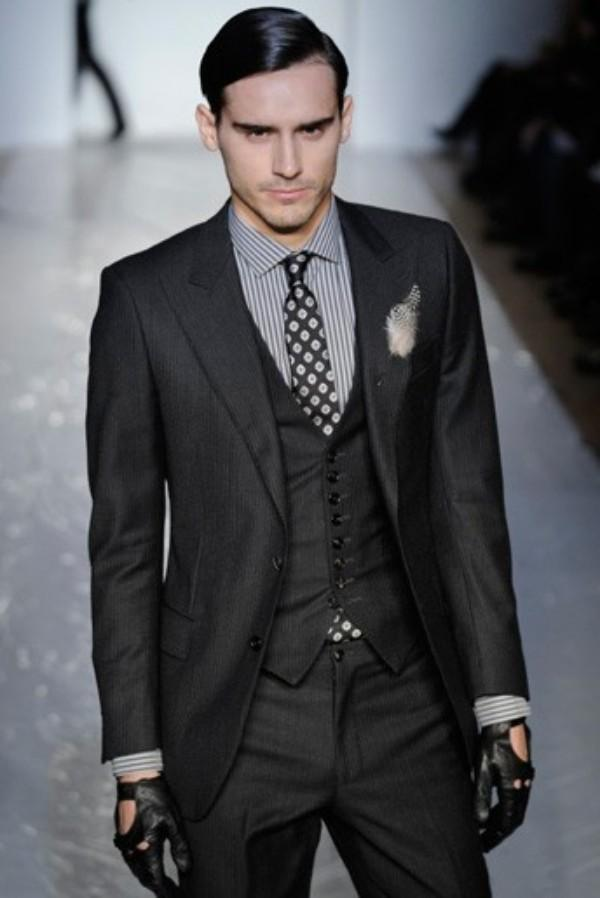 Two Button Slim Fit Groom Tuxedos Charcoal Grey Best Man Peak ...