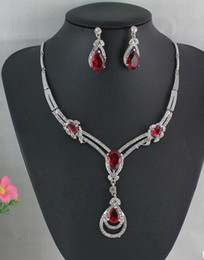 Wholesale Red Agate Earrings - HOT RED GARNET RUBY TOPAZ WHITE GOLD PLATED NECKLACE EARRING JEWELRY SET WS#2