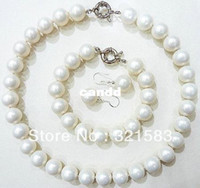 Wholesale Earrings Pearl 14 - seashell pearl necklace pearl earrings 14 mm pearl bracelet fashion jewelry set elegant pearl jewelry shiny natural pearls