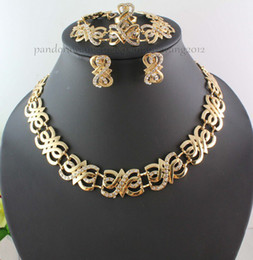Wholesale Amber Chunky Necklace - New Design Australia Crystal 18k Gold Plated Chunky Wedding Jewelry Sets
