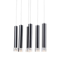 Modern Crystal Dining Room Pendant Light 6 Pcs Tubo de alumínio preto Clear Crystal Cube Living Room Pendant Lamp