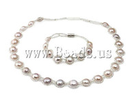 Wholesale Freshwater Pearl Set Aa - Natural Freshwater Pearl Jewelry Set, AA grade, necklace & bracelet, with glass seed beads & magnetic clasp