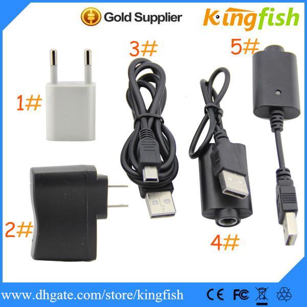 Kingfish Electronic Cigarette E Cigarette Ego Cargador de batería, Cargador de pared para USA / EU / UK / AU, ego cargador de batería, cable USB, mini adaptador