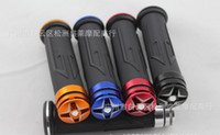 Wholesale Golden Hand Grips - Golden (can choose black blue red ...) 7 8'' 22MM Aluminum Handle Bar Hand Grips with Diamond end For Honda Suzuki DIRT Bike ATV