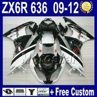 Wholesale Kawasaki 12 - 7 Free Gifts fairing kits for KAWASAKI 09 10 11 12 NINJA ZX6R ZX 6R 636 ZX636 white black fairings 2009 2010 2011 2012 ZX-6R ABS 09-12 za74