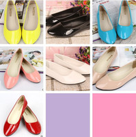 Wholesale Girls Beige Dress Coat - 2014 girls Flat Shoes Candy colors Flat with Coat of paint Shoes