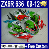 Wholesale Zx6r 11 - 7 Gifts fairing body kits for KAWASAKI NINJA fairings ZX6R 09 10 11 12 ZX 6R 636 green red bodywork ZX-6R 2009 2010 2011 2012 ZX636 Rt50