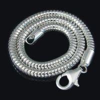 Wholesale Silver 925 Bracelets Chains - Free Shipping 100% 925 Sterling Silver Bracelet fit Diy European Charm Bead , Silver Clasp Snake Bracelet Chain SJ0003