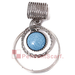 CirCle jewelry neCklaCe sCarves online shopping - 12PCS New Fashion DIY Necklace Pendant Scarf Jewelry Charm Blue Resin Metal Alloy Scarf Pendant Accessories AC0276