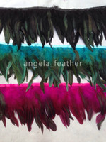 Wholesale Wholesale Coque Tail Feathers - Free Shipping 10yards lot Coque Rooster Tail Feather Trimming Fringe ,Turquoise Fushia Red Purple Rooster Hackle Feather Trim Fringe