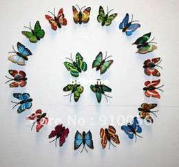 Wholesale Three Dimensional Butterfly Fridge Magnets - Free shipping! 500 pcs Minimal Size 4CM Colorful Three-dimensional Simulation Butterfly Magnet Fridge Home Decoration