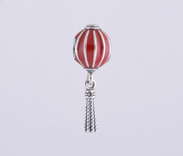 Wholesale Stamped 925 Sterling Silver Necklace - 925 Stamped Sterling Silver Chinese Lantern with Red Enamel Dangle Charm Bead Fits European Pandora Jewelry Bracelets & Necklaces