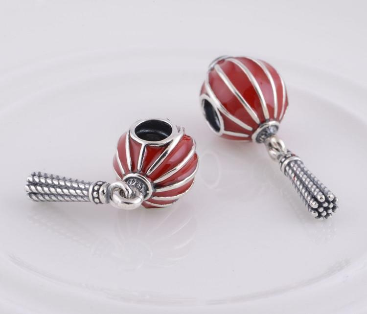 925 Stamped Sterling Silver Chinese Lantern with Red Enamel Dangle Charm Bead Fits European Pandora Jewelry Bracelets & Necklaces