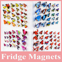 piece tiermagneten großhandel-Heißer Verkauf 100 PC / Los Schöner dekorativer künstlicher Schmetterlings-Magnet für Kühlraum-Dekoration, Schmetterlings-Magnet für Decoraion
