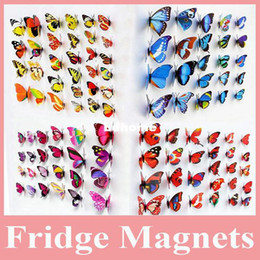Wholesale Hot Sell 100 pcs lot Beautiful Decorative Artificial Butterfly Magnet for Fridge Decoration, Butterfly Magnet for Decoraion