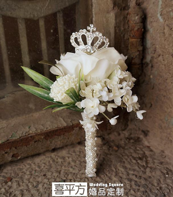 Luxury Crown Boutonniere The Bride And Groom Wedding Corsage