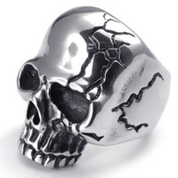 Wholesale Silver Gothic Wedding Bands - Stainless Steel Gothic Skull Biker Mens Ring , Color Silver Black US Size 8-14 Drop Free Shipping!!!
