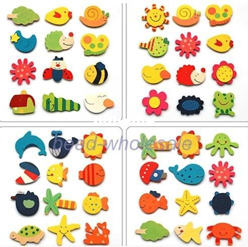 Free Shipping 24pcs/lot Wooden Fridge Magnet Sticker Animal Random Style (Min.order $15-can mix order)