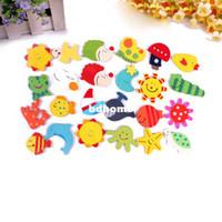 Wholesale toys fridges resale online - 12 a set Kids Baby Wood Cartoon Fridge Magnet Child Educational Toy Learning