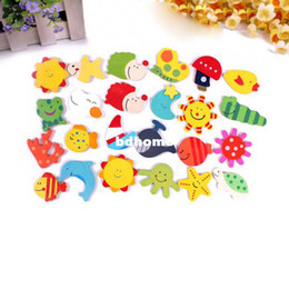 Baby Magnets Canada - 12 pcs a set Kids Baby Wood Cartoon Fridge Magnet Child Educational Toy Learning free shipping